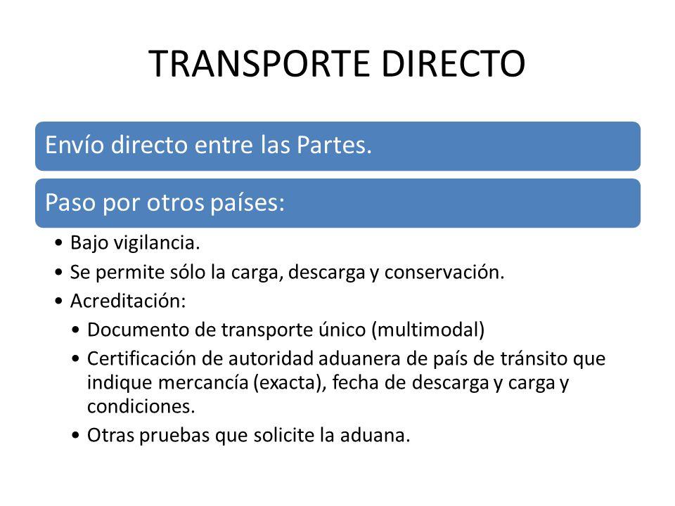 TRANSPORTE DIRECTO Envío directo entre las Partes.