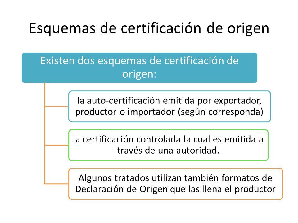 Esquemas de certificación de origen