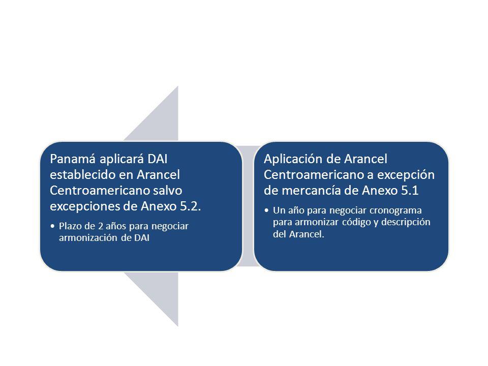 Aplicación de Arancel Centroamericano a excepción de mercancía de Anexo 5.1