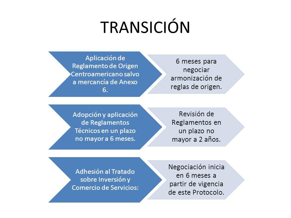 TRANSICIÓN 6 meses para negociar armonización de reglas de origen.