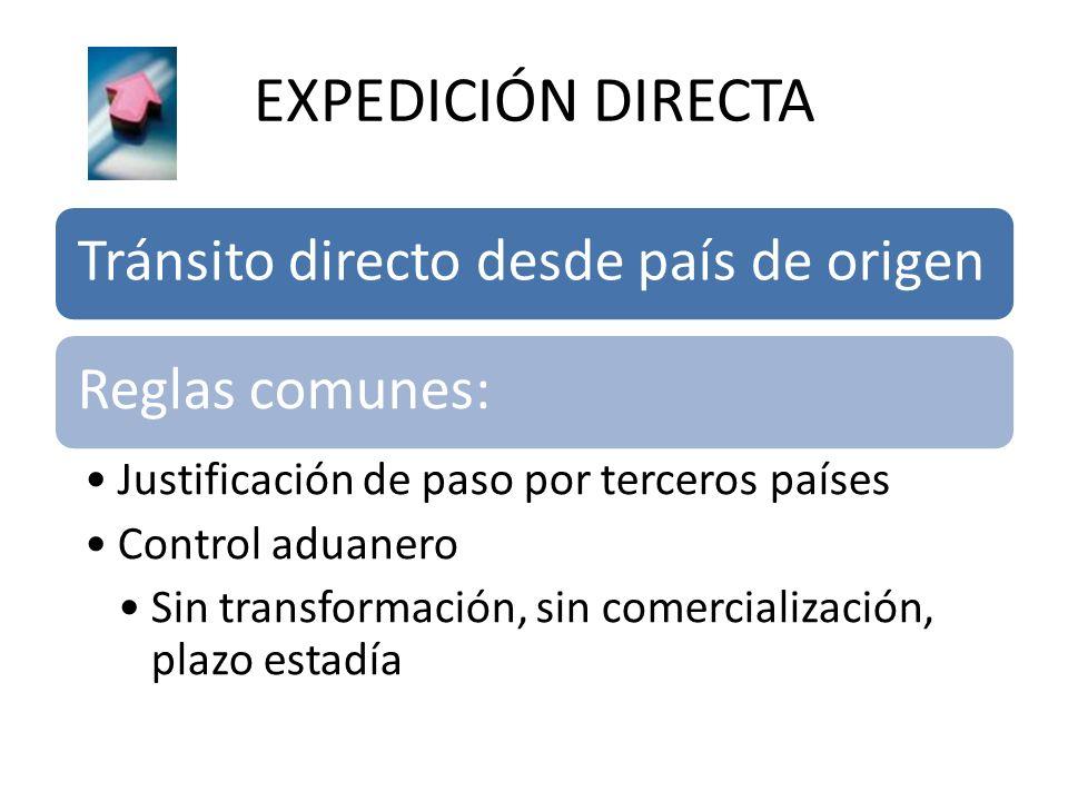 EXPEDICIÓN DIRECTA Tránsito directo desde país de origen