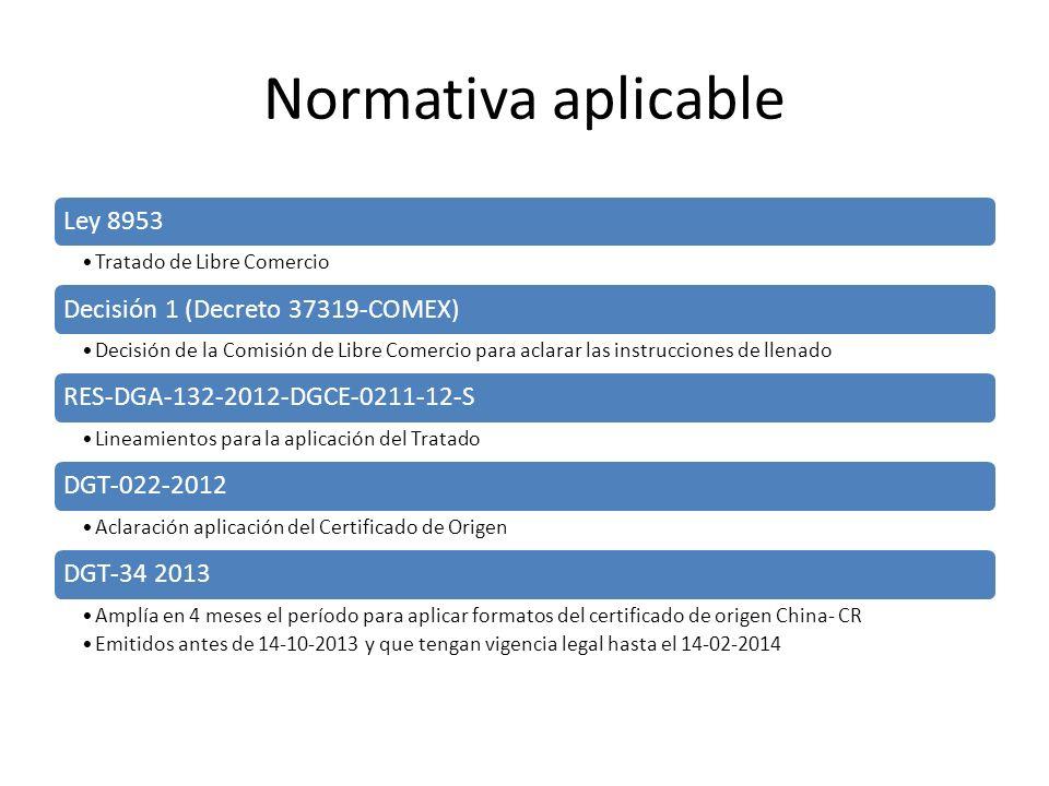 Normativa aplicable Ley 8953 Decisión 1 (Decreto 37319-COMEX)