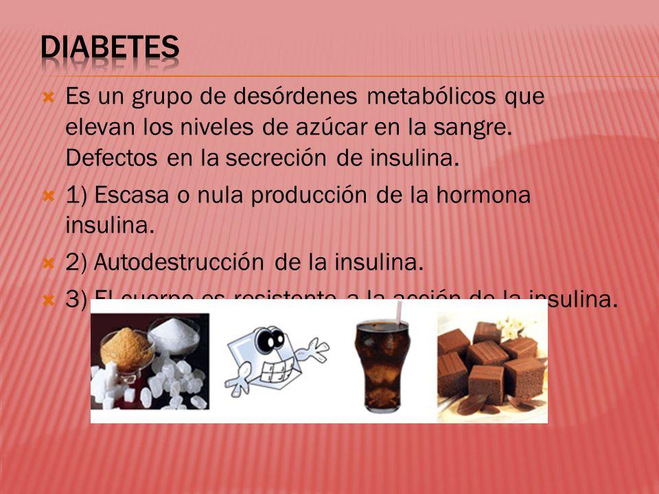 DIABETES Es un grupo de desórdenes metabólicos que elevan los niveles de azúcar en la sangre. Defectos en la secreción de insulina.