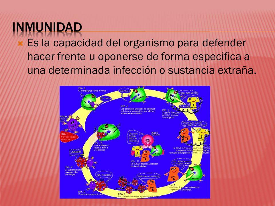 INMUNIDAD Es la capacidad del organismo para defender hacer frente u oponerse de forma especifica a una determinada infección o sustancia extraña.