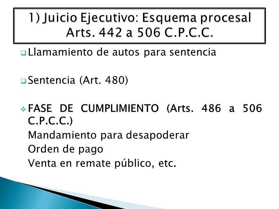 1) Juicio Ejecutivo: Esquema procesal Arts. 442 a 506 C.P.C.C.