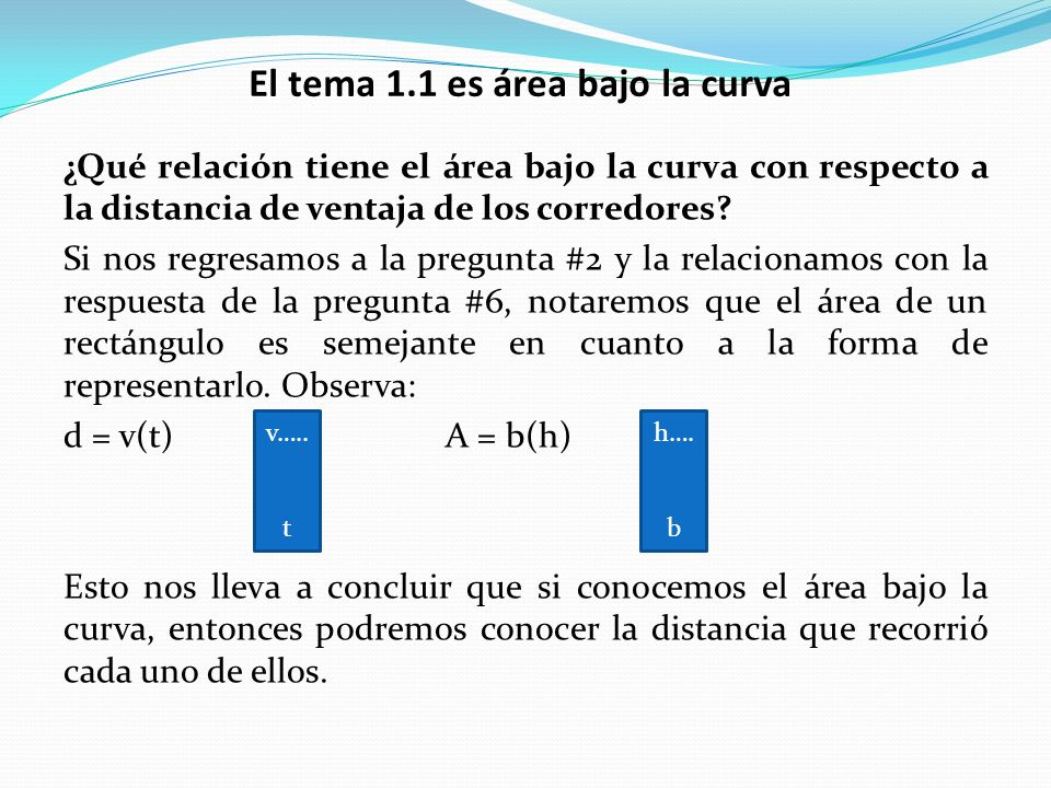 El tema 1.1 es área bajo la curva