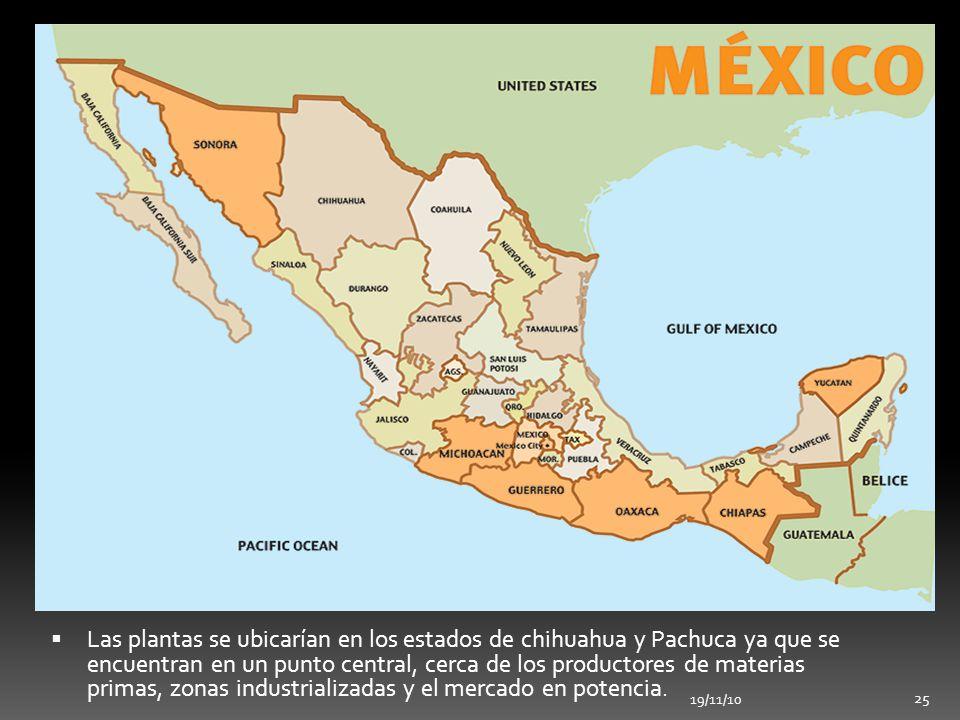 Las plantas se ubicarían en los estados de chihuahua y Pachuca ya que se encuentran en un punto central, cerca de los productores de materias primas, zonas industrializadas y el mercado en potencia.