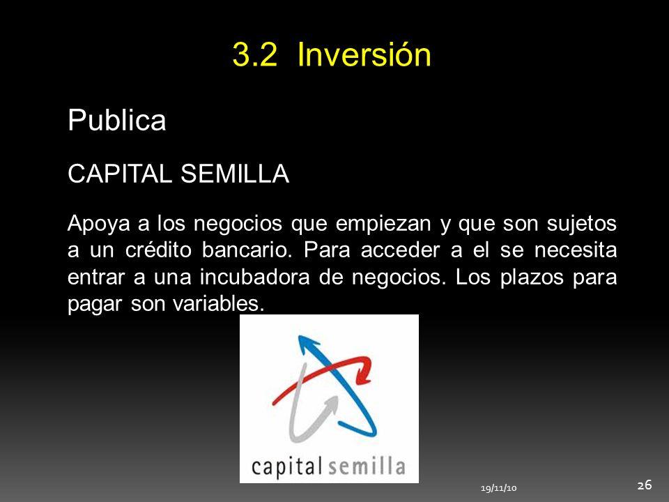 3.2 Inversión Publica CAPITAL SEMILLA