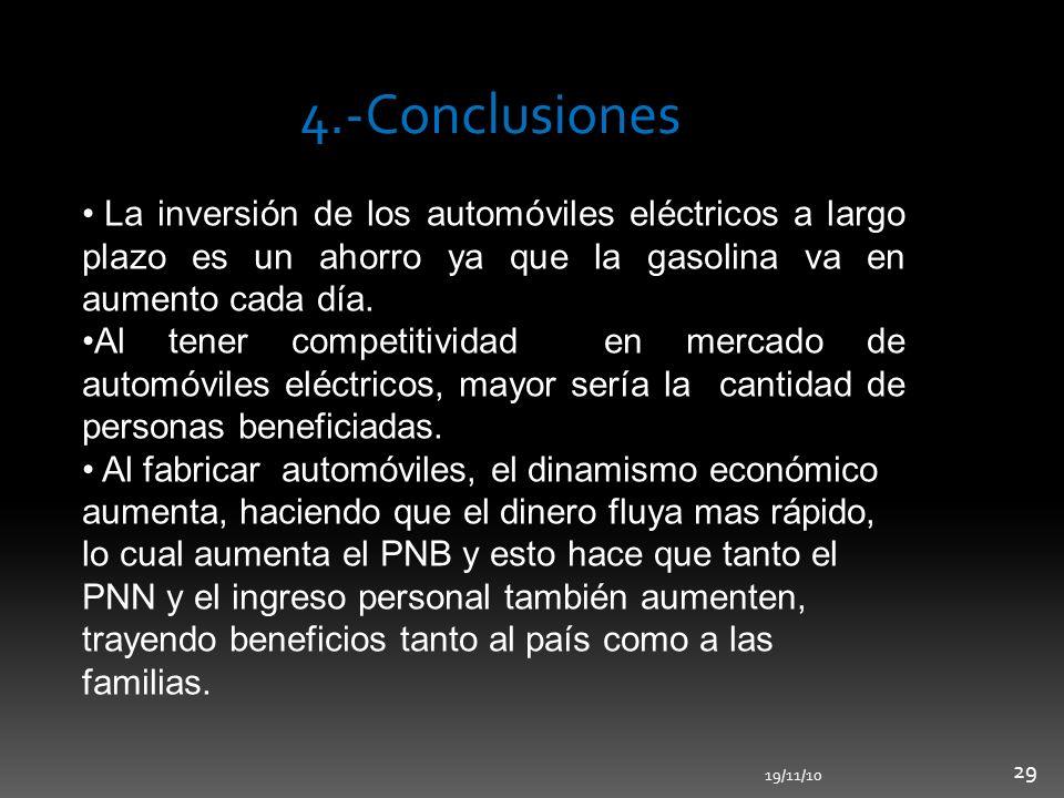 4.-Conclusiones La inversión de los automóviles eléctricos a largo plazo es un ahorro ya que la gasolina va en aumento cada día.