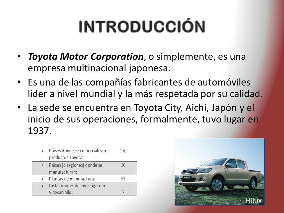 INTRODUCCIÓN Toyota Motor Corporation, o simplemente, es una empresa multinacional japonesa.