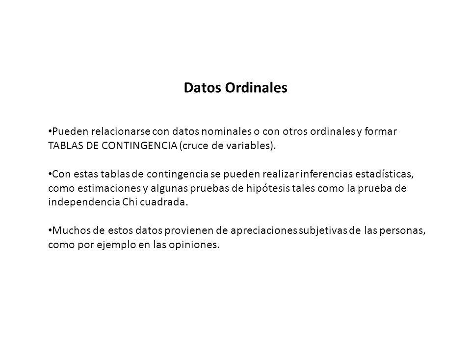 Datos Ordinales Pueden relacionarse con datos nominales o con otros ordinales y formar TABLAS DE CONTINGENCIA (cruce de variables).