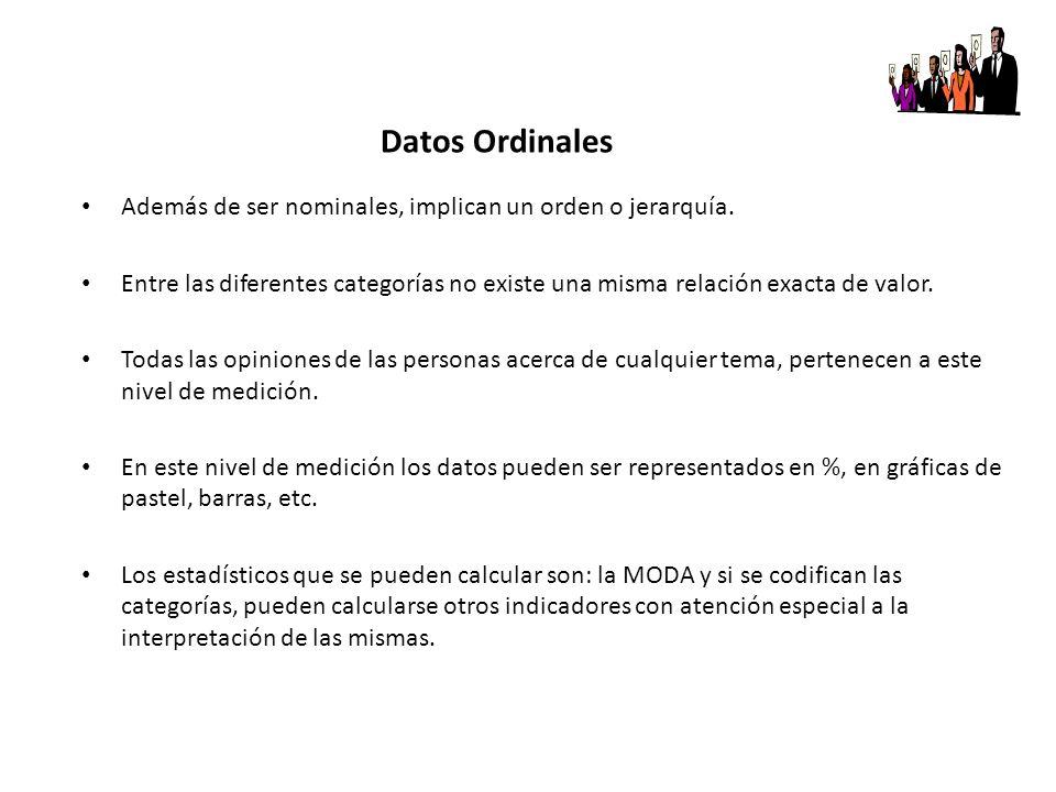 Datos Ordinales Además de ser nominales, implican un orden o jerarquía.