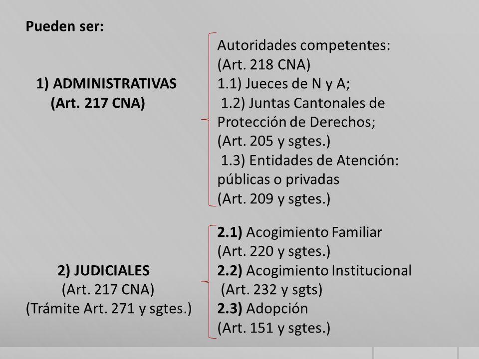 Autoridades competentes: (Art. 218 CNA)