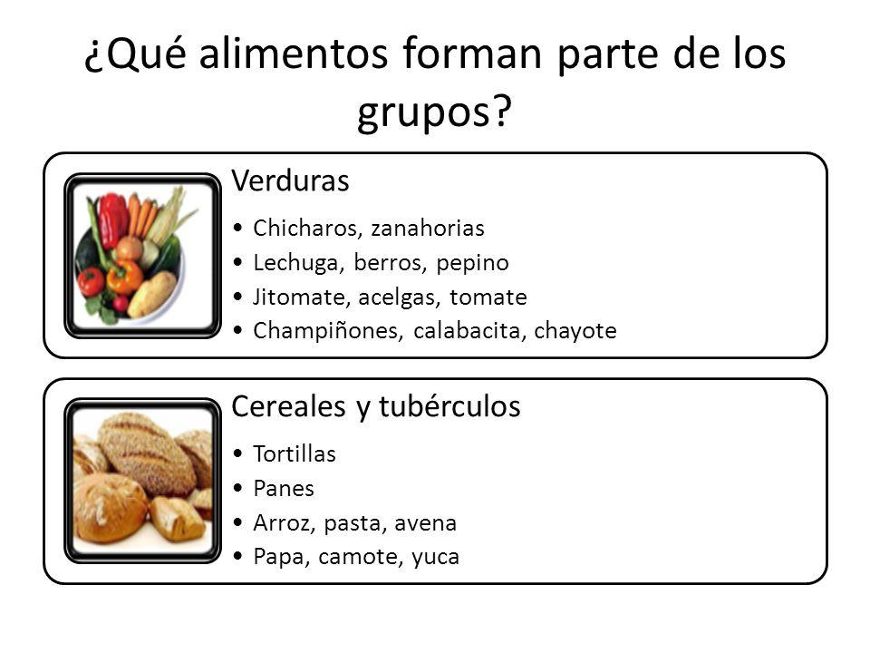 ¿Qué alimentos forman parte de los grupos