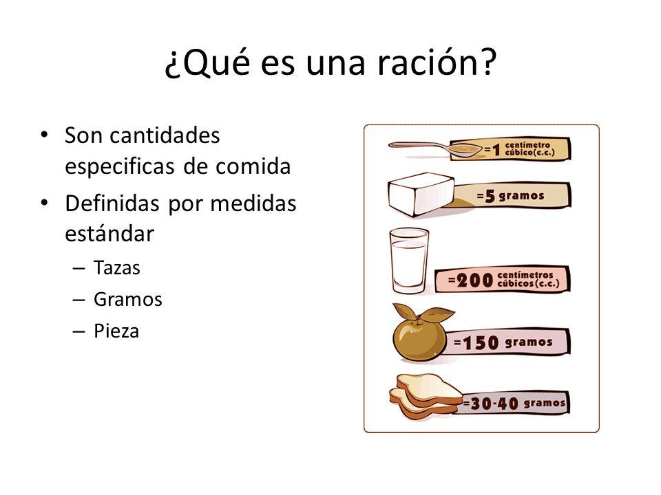 ¿Qué es una ración Son cantidades especificas de comida