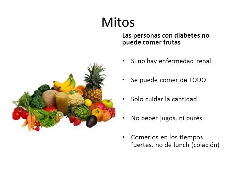 Mitos Las personas con diabetes no puede comer frutas