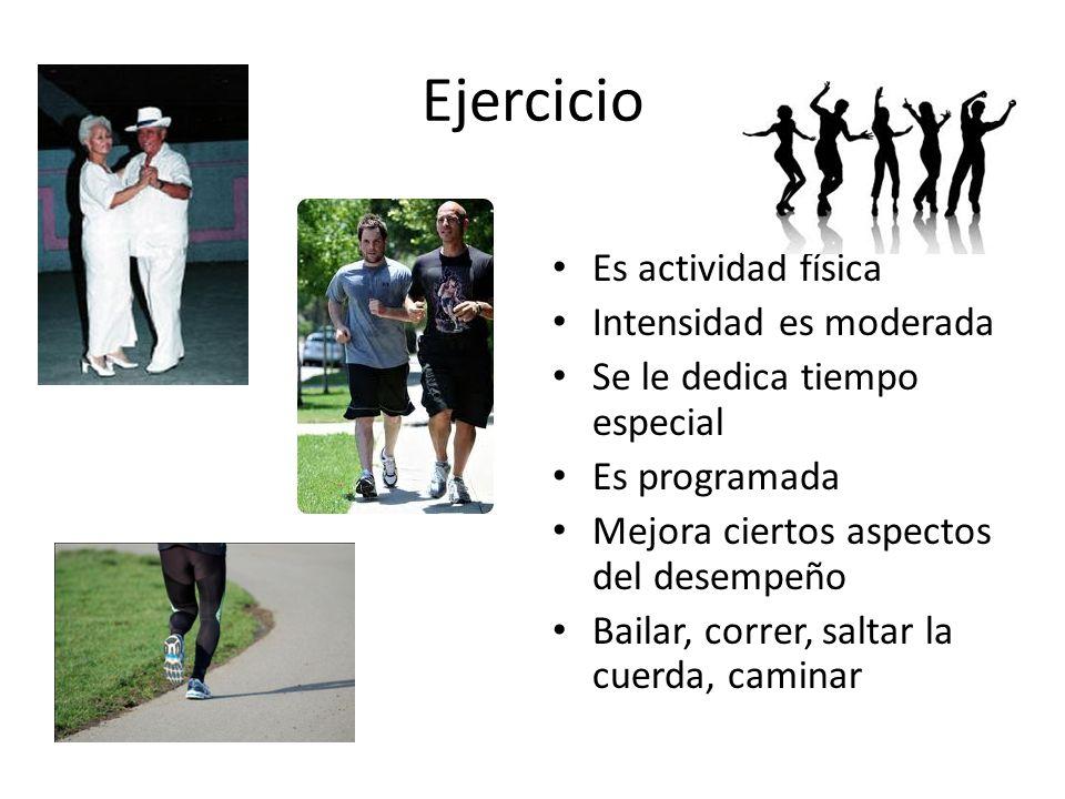 Ejercicio Es actividad física Intensidad es moderada
