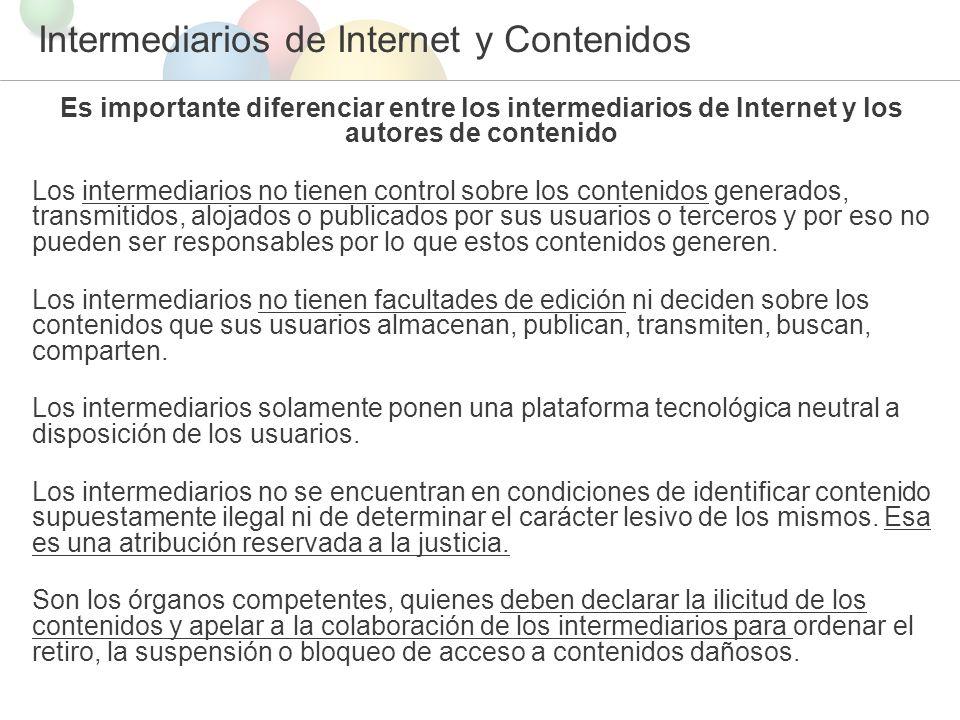 Intermediarios de Internet y Contenidos
