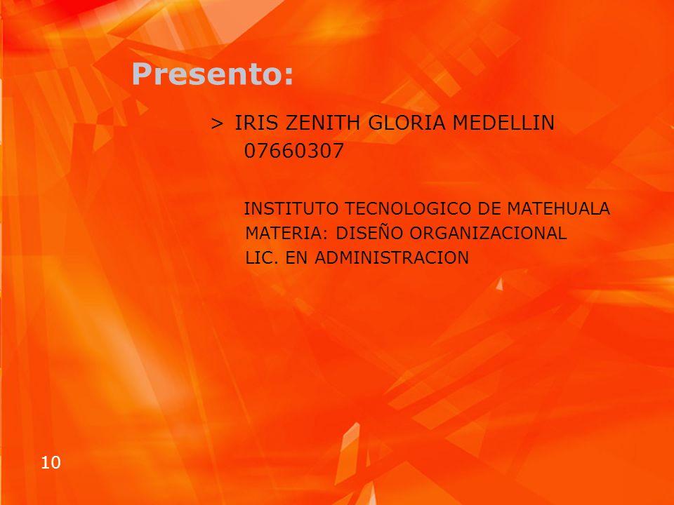 Presento: IRIS ZENITH GLORIA MEDELLIN 07660307