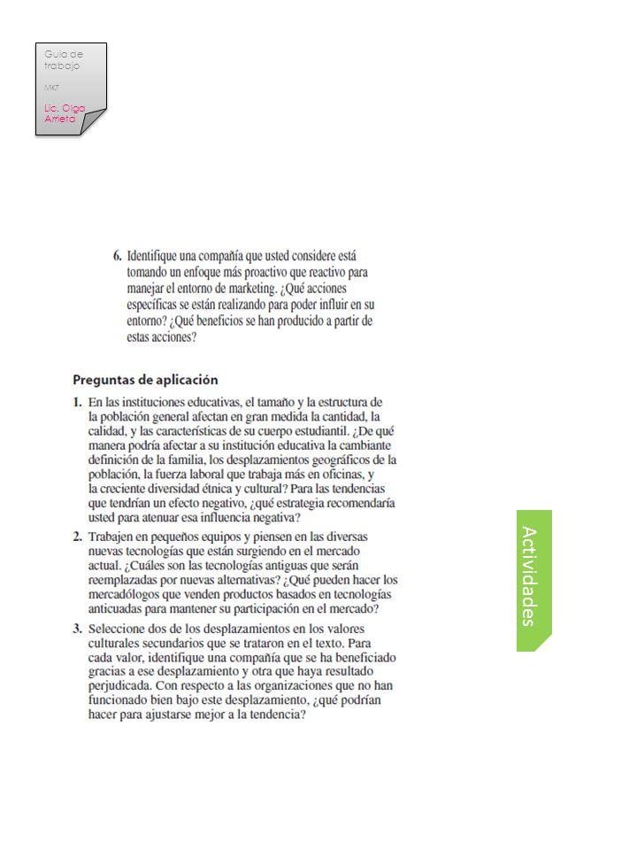 Guia de trabajo MKT Lic. Olga Arrieta Actividades