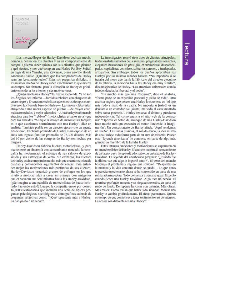 Guia de trabajo MKT Lic. Olga Arrieta Lectura
