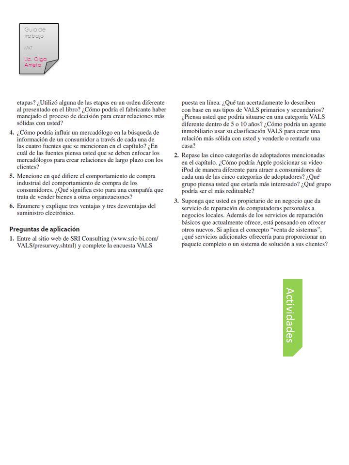 Guia de trabajo MKT Lic. Olga Arrieta Tema Actividades