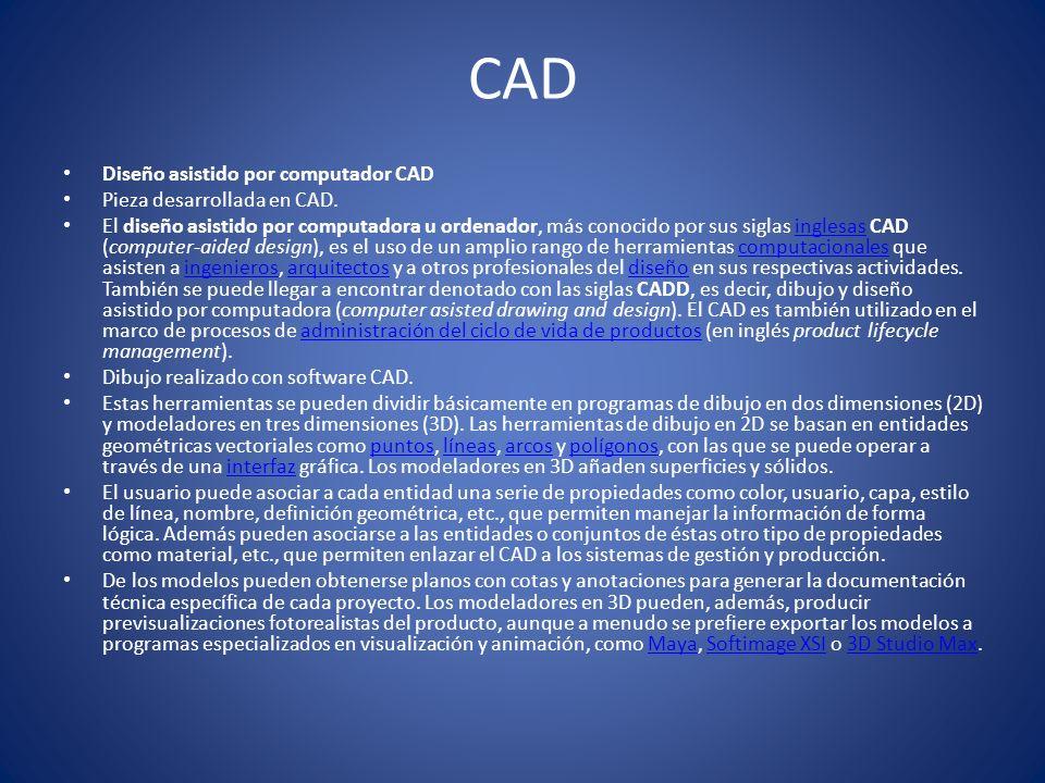 CAD Diseño asistido por computador CAD Pieza desarrollada en CAD.