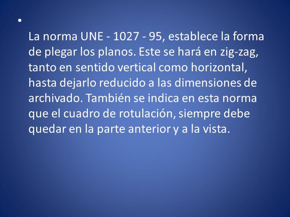 La norma UNE - 1027 - 95, establece la forma de plegar los planos