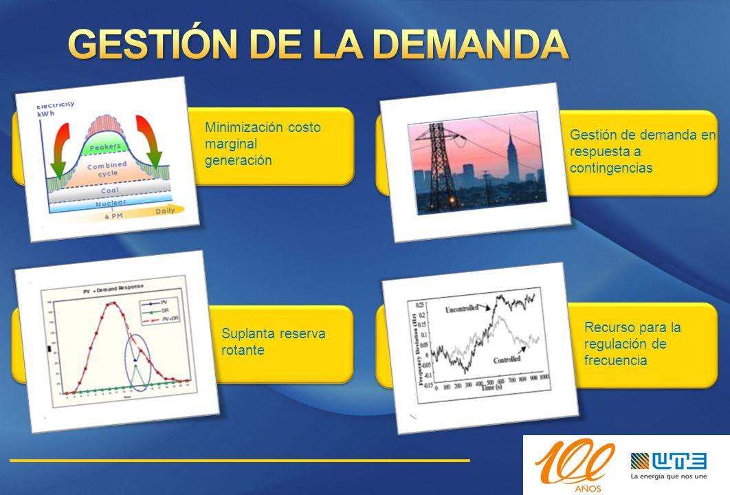 GESTIÓN DE LA DEMANDA Minimización costo marginal generación