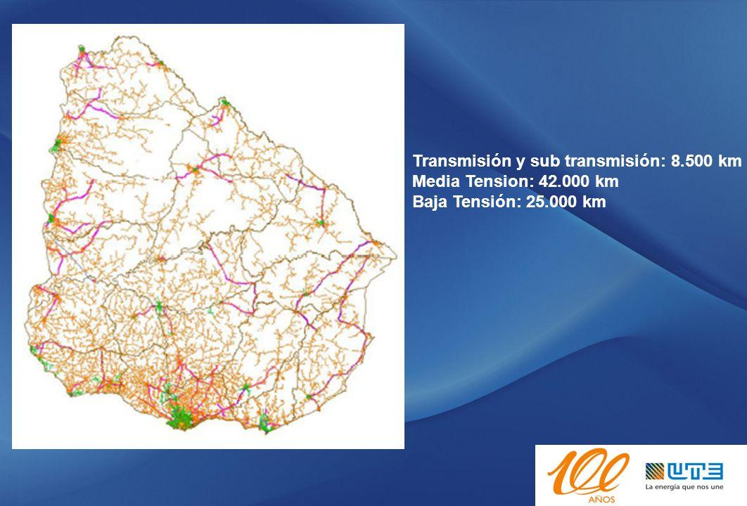 Transmisión y sub transmisión: 8.500 km