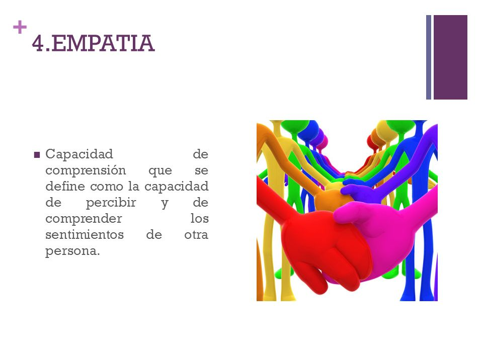 4.EMPATIA Capacidad de comprensión que se define como la capacidad de percibir y de comprender los sentimientos de otra persona.