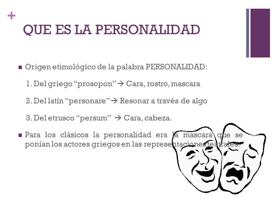 QUE ES LA PERSONALIDAD Origen etimológico de la palabra PERSONALIDAD: