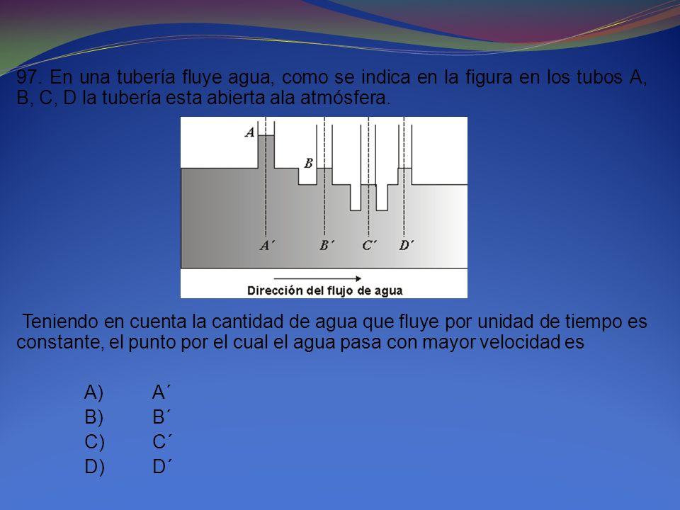97. En una tubería fluye agua, como se indica en la figura en los tubos A, B, C, D la tubería esta abierta ala atmósfera.