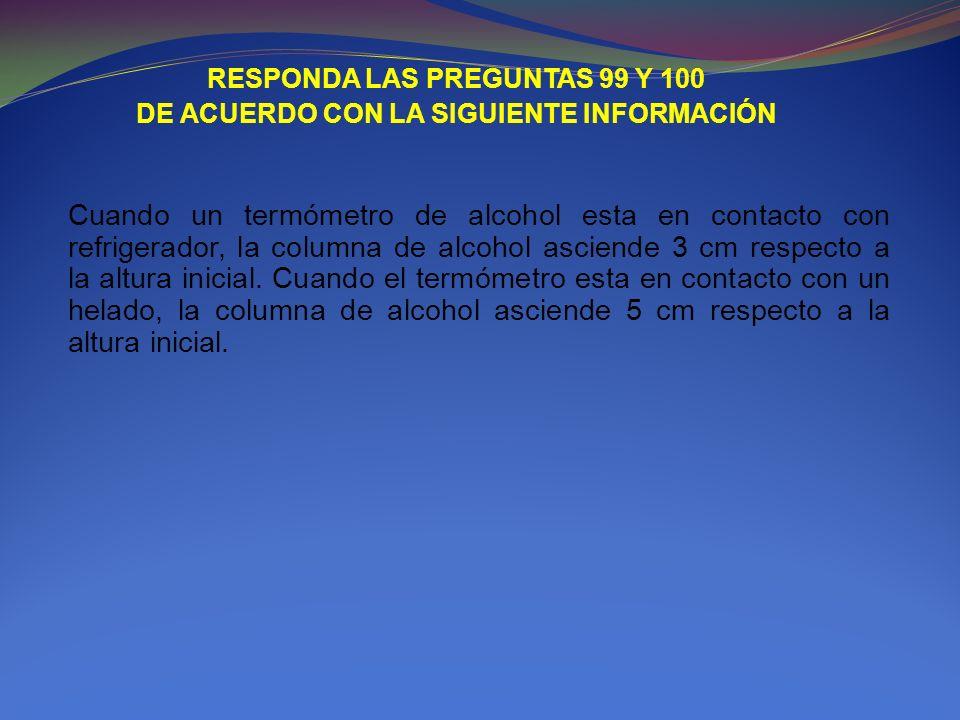 RESPONDA LAS PREGUNTAS 99 Y 100