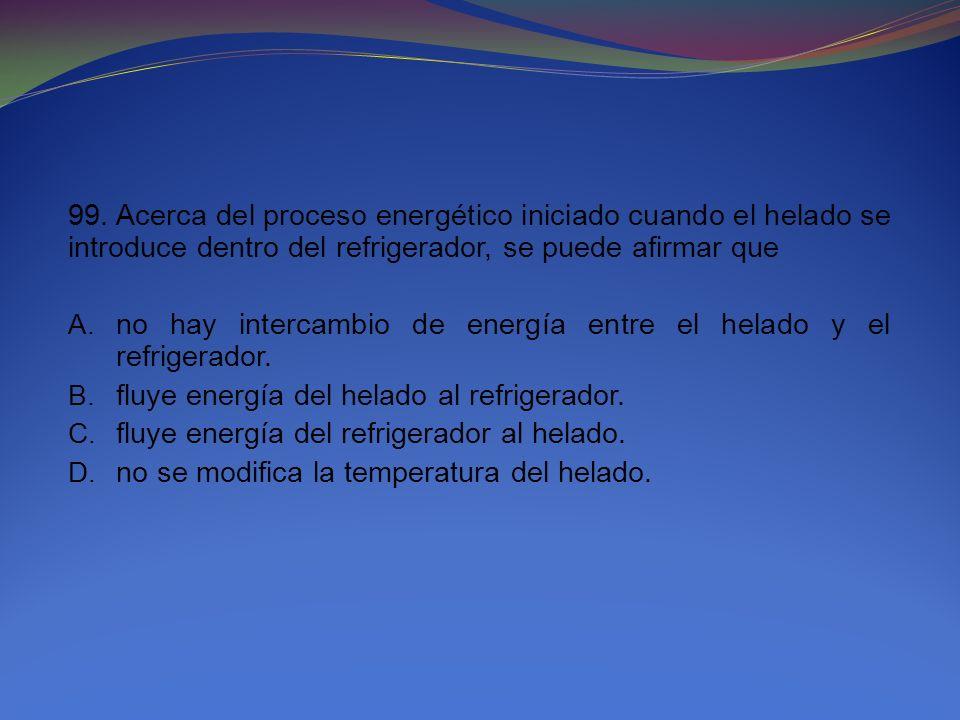 99. Acerca del proceso energético iniciado cuando el helado se introduce dentro del refrigerador, se puede afirmar que