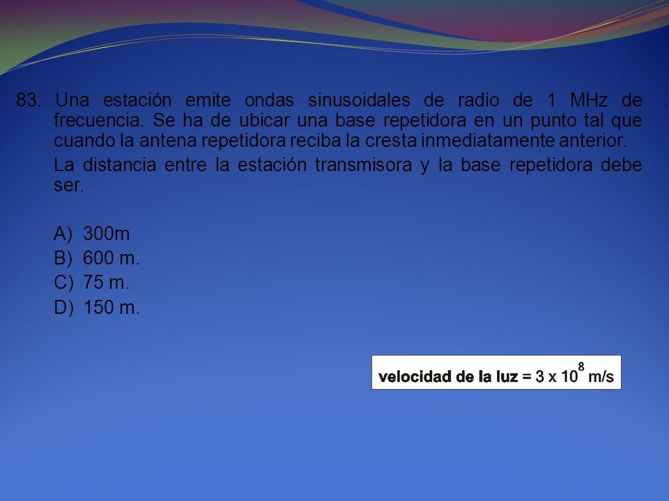 83. Una estación emite ondas sinusoidales de radio de 1 MHz de frecuencia. Se ha de ubicar una base repetidora en un punto tal que cuando la antena repetidora reciba la cresta inmediatamente anterior.