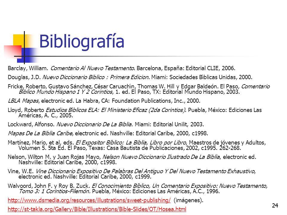 Bibliografía Barclay, William. Comentario Al Nuevo Testamento. Barcelona, España: Editorial CLIE, 2006.