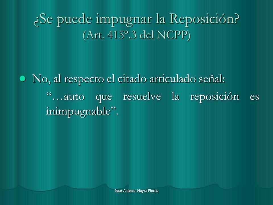 ¿Se puede impugnar la Reposición (Art. 415º.3 del NCPP)
