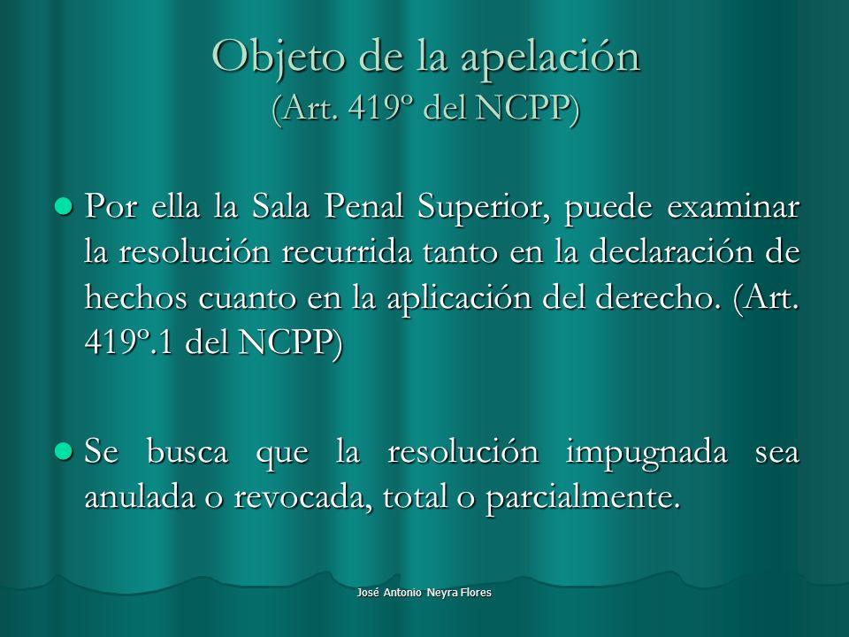 Objeto de la apelación (Art. 419º del NCPP)