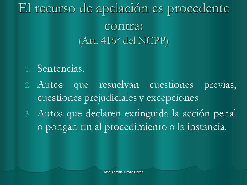 El recurso de apelación es procedente contra: (Art. 416º del NCPP)