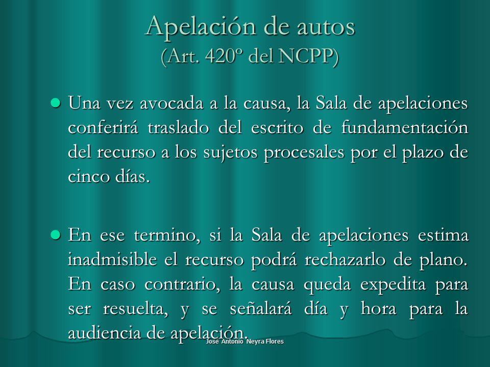 Apelación de autos (Art. 420º del NCPP)
