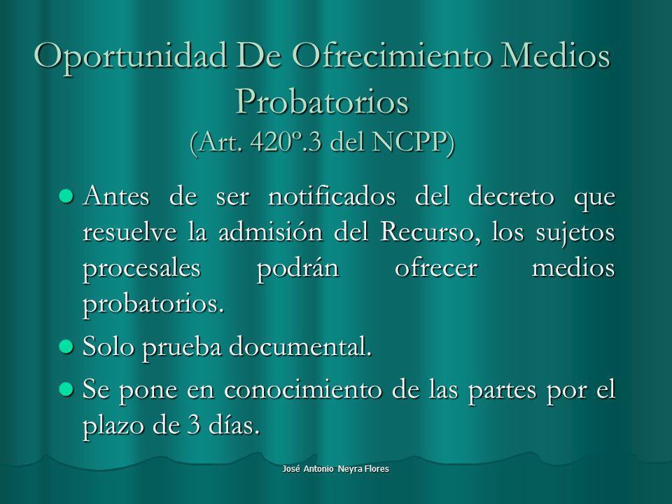 Oportunidad De Ofrecimiento Medios Probatorios (Art. 420º.3 del NCPP)