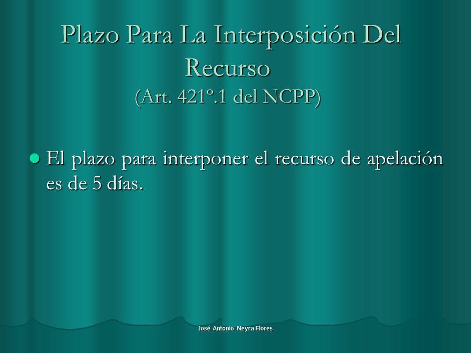 Plazo Para La Interposición Del Recurso (Art. 421º.1 del NCPP)