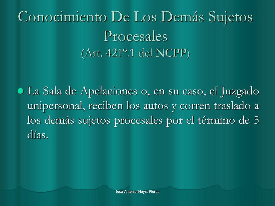 Conocimiento De Los Demás Sujetos Procesales (Art. 421º.1 del NCPP)