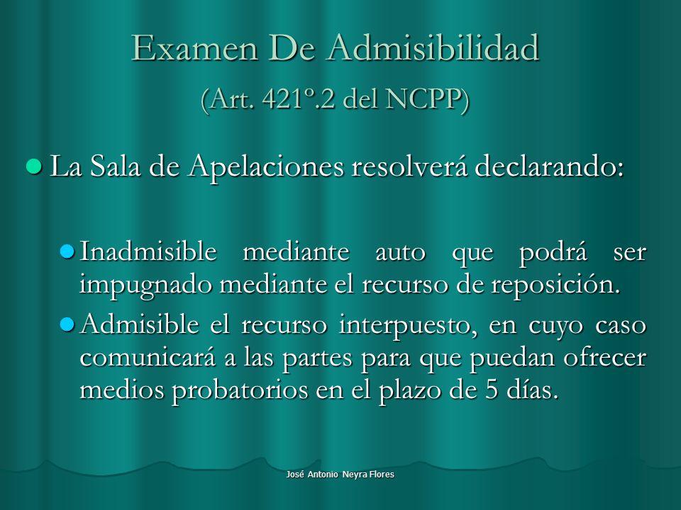 Examen De Admisibilidad (Art. 421º.2 del NCPP)