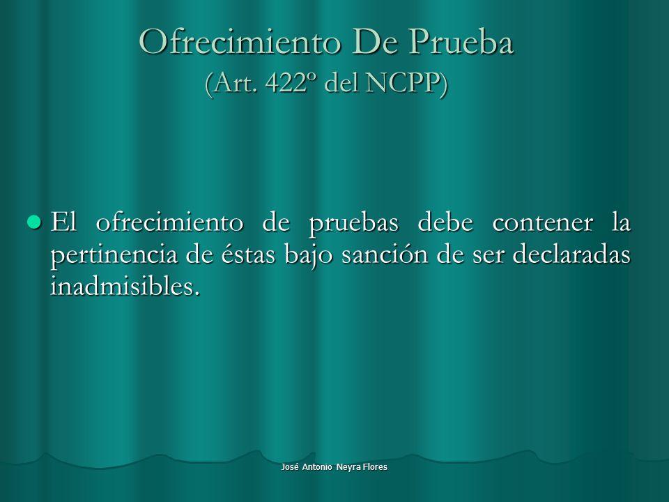 Ofrecimiento De Prueba (Art. 422º del NCPP)