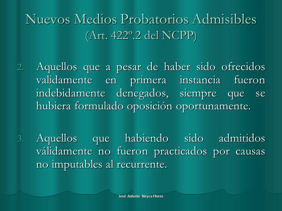 Nuevos Medios Probatorios Admisibles (Art. 422º.2 del NCPP)