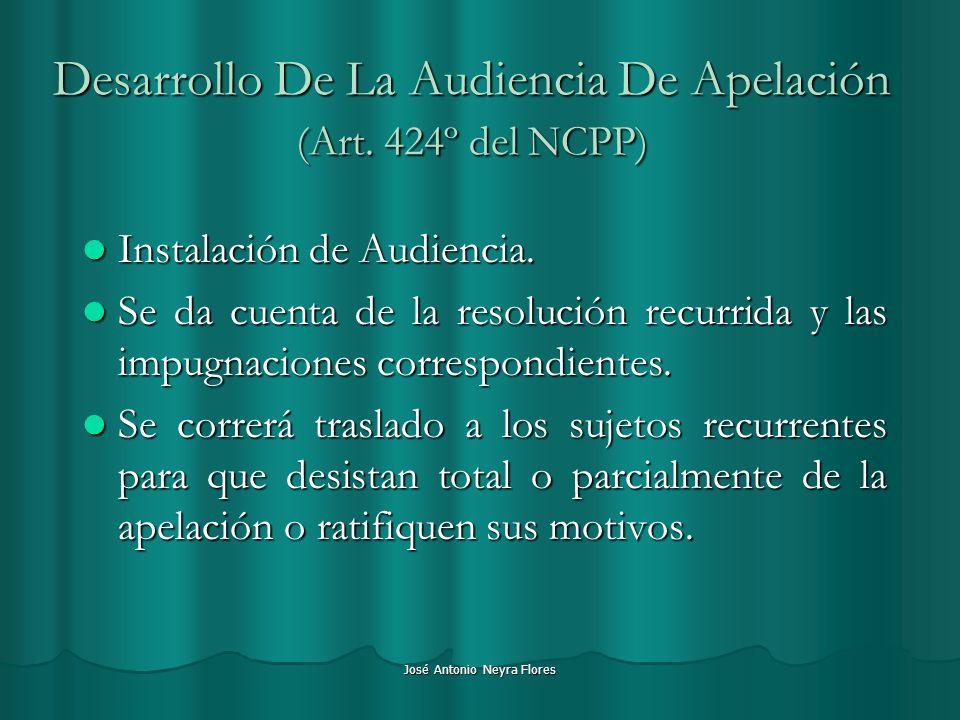 Desarrollo De La Audiencia De Apelación (Art. 424º del NCPP)