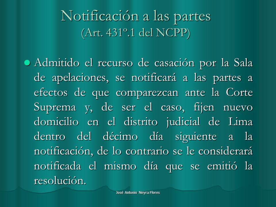Notificación a las partes (Art. 431º.1 del NCPP)