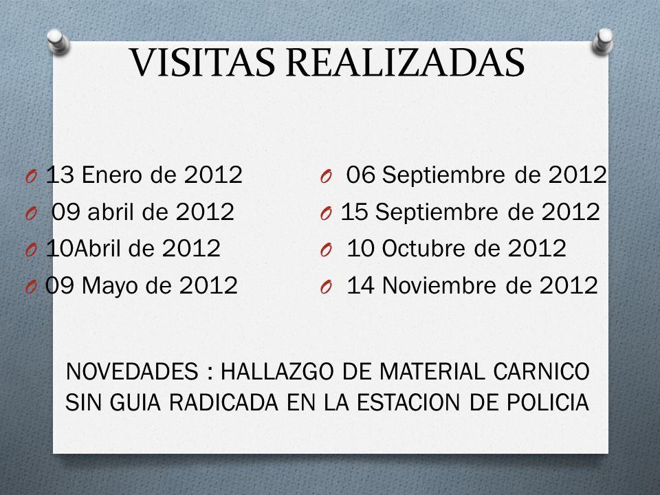 VISITAS REALIZADAS 13 Enero de 2012 06 Septiembre de 2012